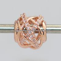 Стерлингового серебра 925 Роуз позолоченные Галактики Шарм шарик с ясно Cz подходит Европейский Pandora ювелирные изделия браслеты ожерелья ожерелья