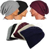 الجملة-شيك الرجال النساء للجنسين الدافئة المعتاد قبعة كاب الجمجمة الشتاء مترهل متماسكة قبعة تزلج 6 ألوان