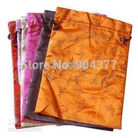 Drawstring Silk Printed travel Women Shoe Bags with lined Reusable Shoe Covers 10pcs/lot Mix Color Free shipping