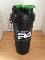Neue 3-Schichten-Wasser-Flasche Art und Weise beweglicher Raum Cup Herbalife Nutrition kundenspezifische Protein-Pulver Shaker
