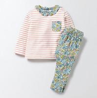 NEW Little Maven Girs Kinder 100% Baumwolle Langarm Rundkragen stripped Blumen drucken Mädchen Set Kausal Frühling Herbst Mädchen T-Shirt + Hose