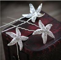 Accesorios para el cabello Accesorios para el cabello de la boda elegante Starfish Silver Tone Girls Ladies Cabeza de boda Pieza Fiesta U PIN Decoración del cabello