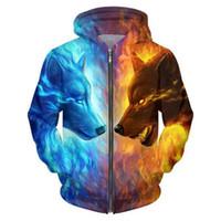 Al por mayor-Cloudstyle 2017 Hombres 3D Hoodies Hielo y Fuego Lobo 3D Imprimir Harajuku Casual Sweatshirt Fashion Casual Chaqueta fina Más el Tamaño 5XL