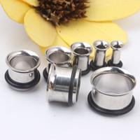 Blanda 3-14mm Rostfritt Stål Silver Single Flare Med O Ring Flesh Tunnel Piercing Ear Plugs Body Smycken