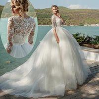 Robes de mariée modestes avec manches Vintage robe de bal de billes Beach Robes de mariée Sheer Col Dentelle Robes de mariée élégantes Robes de mariée de Chine