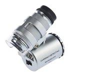 Pocket LED 60X Magnifier Microscope / 60 X Mini Loupes Magnifier Microscopi w LED Light + custodia in pelle + pacchetto