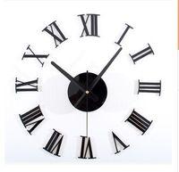 Klasik siyah 3 d DIY Romen rakamları duvar saati duvar saati DIY saati Yaratıcı kombinasyonu