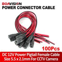 100 stücke CCTV-Überwachungskamera Power Pigtail-männliches weibliches Kabel DC Power-Anschlusskabel 12V-Monitor-Anschluss