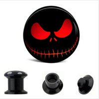 عيون حمراء الجمجمة الأسود uv الاكريليك نفق اللحم ثقب الأذن المقابس هيئة المجوهرات نقالة صالح مقياس 64 قطع 8 الحجم