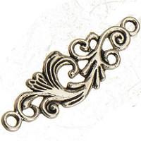 Resultados de la joyería diy conector para pulseras pendientes collares encantos flor de plata antigua plano plano filigrana solo metal 35 * 11mm 200 unids