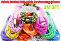 1 M 3 FT Örgülü Yuvarlatılmış USB Kablosu Data Sync Kablosu Şarj Kablosu Cep Telefonu için ap 5/6/6 artı Samsung Galaxy S3 S4 S6 Note4 DHL Ücretsiz