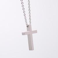 عالية الفضة المصقول المقاوم للصدأ الدينية الصليب قلادة رمز قلادة الحرة مع سلسلة 24 بوصة للرجال woemn
