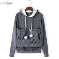 Wholesale- Mhysa Cat Lovers Hoodies With Cuddle Pouch Dog Pet Hoodies For Casual Kangaroo Pullovers With Ears Sweatshirt Drop Shipping 020