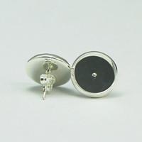 Beadsnice 스터드 귀걸이 기지는 은색 도금 된 둥근 스터드 귀걸이 빈 베젤 귀걸이 쟁반은 12mm cabochons 또는 수지 ID에 맞게 8266