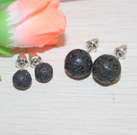 New Fashion Lava- rock Round Bead Stud Earrings Aromatherapy ...