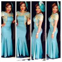 2015 New Arrival Arabic Evening Party Dresses Cap Sleeves Gold Applique Sweep Train Mermaid Prom Dresses BO8697