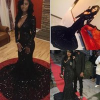 Bling Black Sequins Mermaid Prom Dresses Long Sleeves Plunging Neckline Court Train Evening Gowns Women Formal Party Dress Cheap