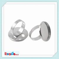 Anelli per anelli Beadsnice in ottone con base ad anello regolabile per monili che rendono l'anello semi-montatura rotondo ID9541