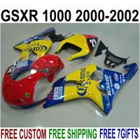 Обтекатель комплект для SUZUKI GSX-R1000 K2 2000 2001 2002 пластиковые обтекатели 00 01 02 GSXR 1000 желтый красный синий Корона послепродажного набора YR65