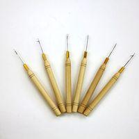 Hook Needles Micro Ring Hair Extension Wooden Pulling Needle Threader Feather Hook Tool för hårförlängningar