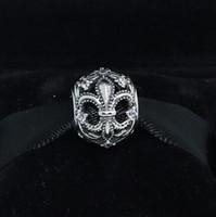 925 стерлингового серебра Fleur de Lis ажурный Шарм шарик с Cz подходит Европейский Pandora ювелирные браслеты ожерелья
