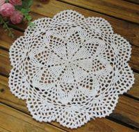 main en dentelle de coton fait Crochet napperons tapis de coupe ronde napperon 36PCS / LOT