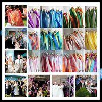Düğün renkli üç şerit wand çan düğün konfeti akışı ile şerit sopa sihirli değneklerini peri sopa düğün parti dekorasyon