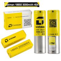 100% Original Listman IMR 18650 3000 mAh 40A 3.7 V Bateria Recarregável para 510 Caixa de rosca Mod