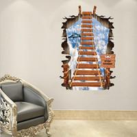 70 * 100CMThe небо лестница гостиная спальня диван установка стены 3D наклейки замороженные обои бесплатная доставка HK18