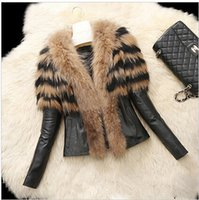 Winter Medium length Women' s Warm Fur Collar Coat Leath...