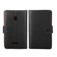 1 PCS Drop Shipping Noir Couleur En Cuir Véritable Fermeture Magnétique Couverture Couverture Cas pour Microsoft Lumia 532 avec Titulaire de la Carte d'Identité