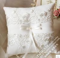 2015 Wedding Ring Oreillers mettre l'oreiller dans le panier de mariage fournitures Fleur fille enfants panier Pas cher dentelle mariée et le marié anneaux oreiller