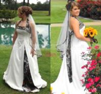 2017 الربيع كامو فساتين زفاف جديد أزياء الأبيض الرسن الطابق طول عارية الذراعين حديقة زائد الحجم شاطئ أثواب الزفاف الرسمي BO7571