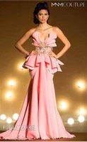 2015 Mermaid Evening Dresses Pink Sweetheart Satin Ruffles Beaded Floral Floor length Prom Dresses MNM2220