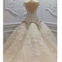 Lujoso y hermoso vestido de bola de 2021 vestidos de novia vestido de novia con perlas con cuentas de cordones apliques capilla tren hermosa novia