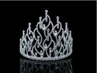 2015 Classic gotitas corona alta forma Rhinestone Crystal Crown nupcial Tiaras accesorios para el cabello TS000068