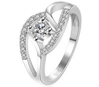925 Plata Esterlina Anillos de la galjanoplastia de las mujeres de lujo de la boda de cristal austriaco anillos de fiesta vestido de joyería de circón