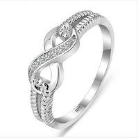 Al por mayor-genuino 925 anillos de plata esterlina de plata para la señora mujeres novia Infinity 3.5 Tamaño del anillo