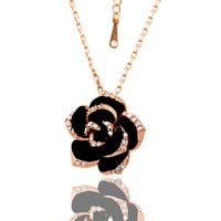 Schöner Entwurf 18K Gold CZ Kristallblumen-hängende Halsketten-Art- und Weiseschmucksache-Partei-Geschenk Freies Verschiffen