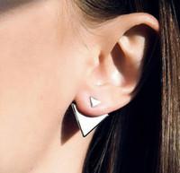 패션 귀걸이 쥬얼리 여성 펑크 기하학 골드 / 실버 도금 합금 삼각형 스터드 귀걸이 도매 드롭 배송 ER619