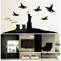 Cheap New Removable Self Adhesive Wall Stickers Fluorescent Luminous  Airplane And Statue Of Liberty Bedroom Home Decor Wall Decals