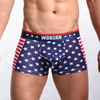 Sous-vêtements pour hommes Boxers Shorts Classique USA Drapeau Imprimé Hommes Boxers Shorts Coton Hommes Sous-vêtements Sexy Taille Basse Convex Conception Dessous