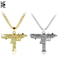 Fashion Gold Color Uzi Gun Pendant Necklace Men Alloy Full c...