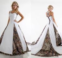 Custom Made white and Camo Wedding Dresses Sweetheart ball gown A Line Vestidos de Novia satin With Applique lace Elegant Bridesmaid Gowns