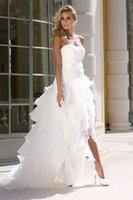 Alta Baixa Vestidos de Noiva 2015 Nova Chegada Do Vintage Organza A Linha de Vestidos de Noiva Sem Alças Branco Praia Vestidos De Casamento com Flor Artesanal
