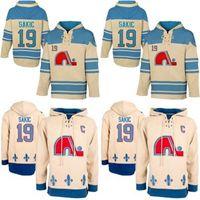 Mens Hoodies 19 Joe Sakic Jersey Quebec Nordiques Hockey Trikots Beige Joe Sakic Hoodies Sweatshirts Kostenloser Versand