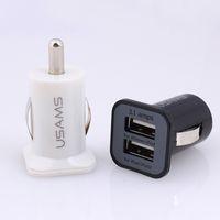 USAMS USB 3.1A Dual-USB-Anschlüsse Mini-Auto-Ladeadapter portabl Universal für iPhone 6s 5s Samsung S7 S7 HTC edeg