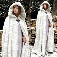 2018 pelz verdicken winter mit kapuze madeln warme hochzeits kapseln wicca robe plus größe mäntel bride jacke weihnachten weiß oder elfenbein Ereignissen Zubehör
