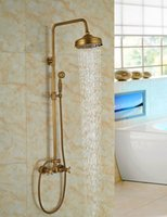 """Wholesale And Retail Luxury Wall Mounted 8"""" Rain Shower Faucet Set W  Hand Shower Sprayer Mixer Tap Dual Shower Sprayer"""