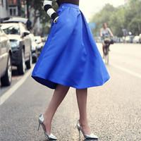 2015 neue herbst winter frauen vintage hohe taille midi rock damen büro fest elegant a line pocket röcke schwarz blau lang saia fg1511
